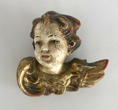 Gold Leaf And Wood Winged Cherub Angel Vintage Hand Painted Wall Art