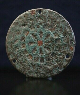 Ancient Viking Bronze Amulet. Solar Symbol with Glass paste detail, c 950-1000Ad