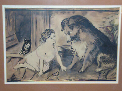 Girl w/Collie Dog & Cat Painting in Ink Mid-Century Naive Folk Signed Art 1940