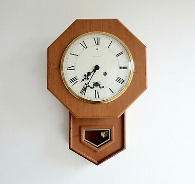 Mid century vintage wall clock octagon by Westerstrands made in Sweden 1950s