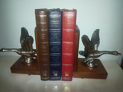 Vintage Pair Wooden Bookends Supporter and CD DVD Holder Stand Books