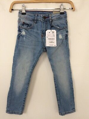 Blue Distressed Ripped Skinny Fit Trendy Jeans By Zara Age 4 New Boys