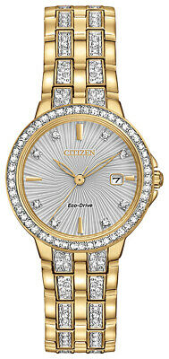 Citizen Eco-Drive Women's EW2342-52B Crystal Accents Gold-Tone Band 29mm Watch