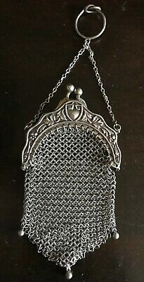 Antique Sterling Silver Ring Chatelaine Mesh Change/Coin Purse