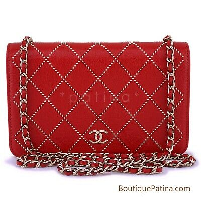 31d3f97e43b632 NIB 19P Chanel Red Goatskin Studded Classic Wallet on Chain WOC Flap Bag  63467