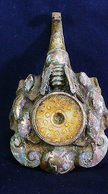 Ancient 2,200 Year Old Chinese Silver & Gilt-Bronze Dragon Robe Hook w/Jade Bi
