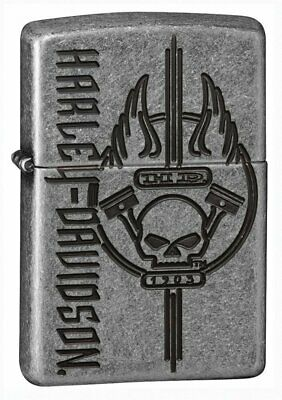 Zippo Harley Davidson Skull Armor Lighter, Antique Silver Plate #29280