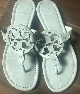 96deef06a Authentic Tory Burch Seltzer Light Blue Pebbled Leather Miller Sandal Thong  7
