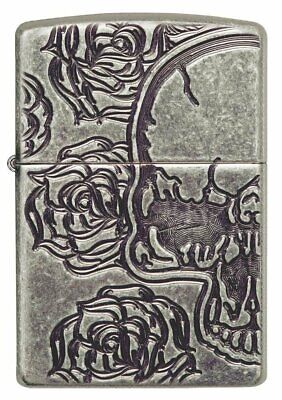 Zippo Skull and Roses, Antique Silver Plate, Windproof Lighter #28988