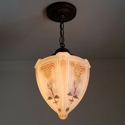 463b Vintage Antique Glass Ceiling Light Lamp Fixture Porch Hall  pendant