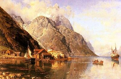 Nice Oil painting Village on a Fjord with sail boats canoe ship in landscape