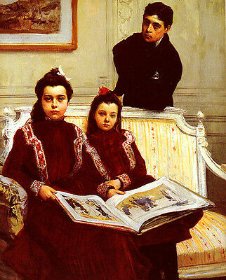 Nice Oil painting Flameng Francois Family Portrait Of A Boy And His Two Sisters