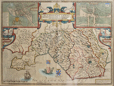 Antique c17th John Speede Map, Wales, Cardiff, Glamorganshire 1610, Dual Aspect