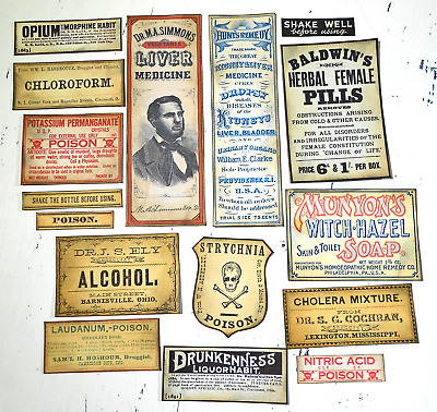 Apothecary Labels Stickers Pharmacy Halloween Poison Skull Herbal repo