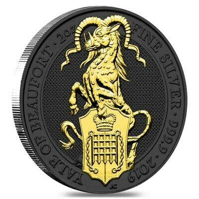 2019 Great Britain 2oz Silver Queen's Beasts Yale Black Ruthenium &Gold Edition.