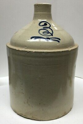 Antique Rare Transitional Stoneware 3 Gal Jug Cobalt Stylized 3 Ca. Late 19th