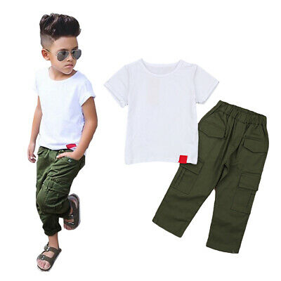 Kids Baby Boys White Shirt Tops+Long Pants Outfit Set Toddler Children Clothes