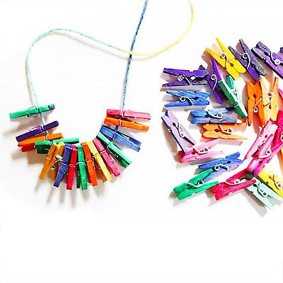 "100pc Mini Wood Colorful Clothespins Crafting Findings 1""  Spring Clothespins"