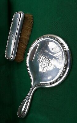 Antique Sterling Silver Mirror Brush Wallace Gorham Monograms Bevel Glass