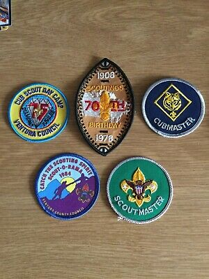 Lot of 5 North American Vintage Boy Scouts Cubs Badges Patches Canada USA