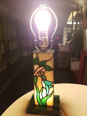 Stained Glass Tiffany Style Lamp With Light up Base Hummingbird Flower Design