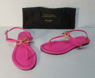 6ed6b581ba90 Kate Spade Tracie Hot Pink Leather Thong Sandals Shoes Gold Bow T-Strap  Size 6M