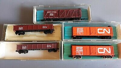 Atlas Etc Canadian Freight Cars X 5 Mixed Couplers Good Boxed N Scale(Mp)