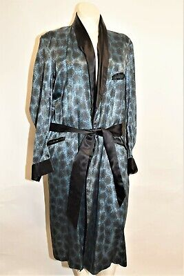 Vtg 50s 60s  STATE O MAINE Slate blue  Satin Smoking Dressing Gown Robe L