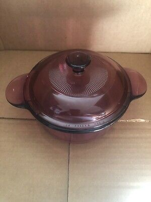 Pyrex Visions Corning Ware Cranberry Glass Cookware #1174