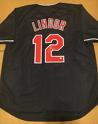 398d3d506 FRANCISCO LINDOR SIGNED Cleveland Indians Jersey Mr Smile PSA DNA ...