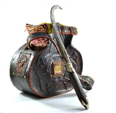 Old islamic Solid Big Leather hand bag with Fine silver plated Dagger KHANJAR