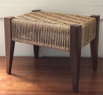 Danish Mid Century Woven Foot Stool Not Signed Werger or Moller