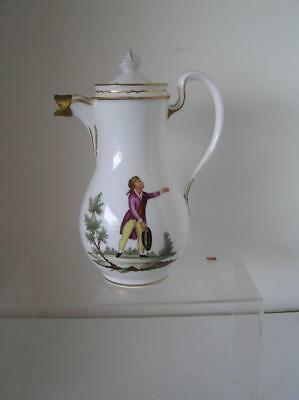 """Antique Handpainted Figures on Pitcher made in Germany late 1800's  9"""" tall"""