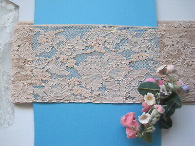 """Vintage French Peach Lace Trim   4 Yards,   3 1/2"""" Wide"""