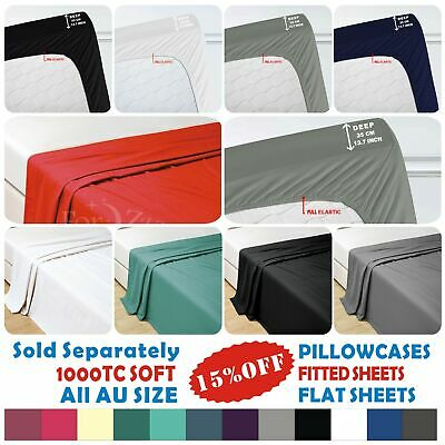 1000TC Ultra SOFT Pillowcase Flat Fitted Sheet Single/Double/Queen/King Size Bed