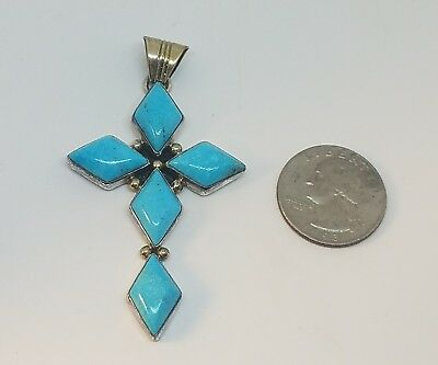 Running Bear RB Native American Sterling Silver Turquoise Large Cross Pendant