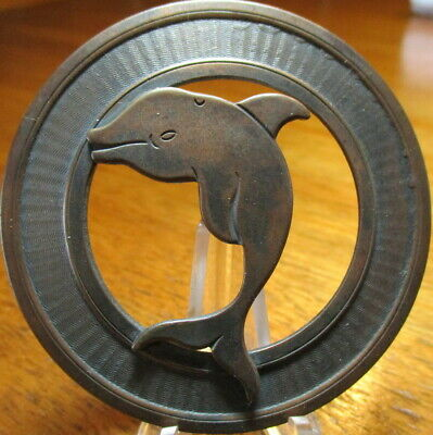 "1940s French Pierced LG ""DOLPHIN FISH"" Silver Plated Copper/Brass Vintage Button"