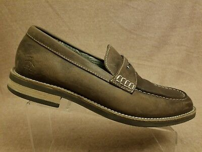 f0557aeee85 Penguin Benson Men Brown Penny Loafers Dress Slip On Moc Toe Shoes Size 11.5