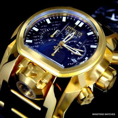 Invicta Bolt Zeus Magnum Black Gold Plated 52mm Dual Swiss Movt Chrono Watch New