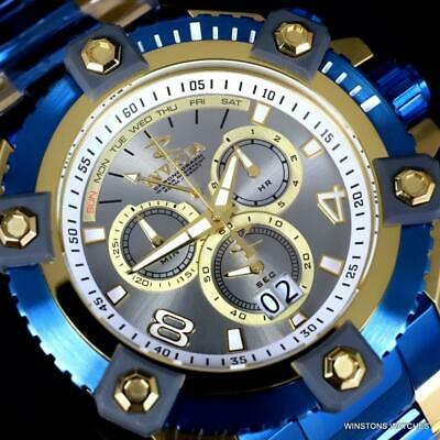 Invicta Grand Octane Arsenal Gold Plated Steel Blue 63mm Swiss Mvt Watch New