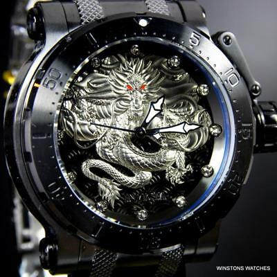 Invicta Coalition Forces Dragon Black Steel Silver Tone 52mm Automatic Watch New
