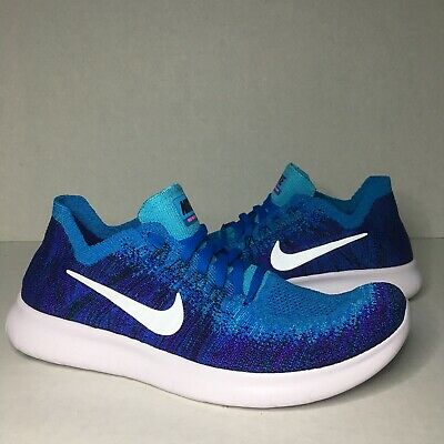 1c5e5ae2cdf4 YOUTH NIKE FREE RN Flyknit 2017 GS Running Shoe Blue Platinum Size ...