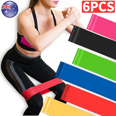 Set Of 6 Resistance Bands Heavy Duty Loop Power Elastic Strength Training Rubber