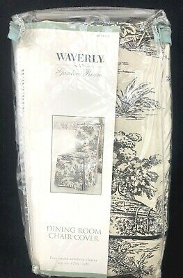 Waverly Garden Room Wellington Scenic Black Toile Dining Chair Cover New