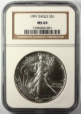 1991 Silver American Eagle MS69 NGC 1 oz CERTIFIED