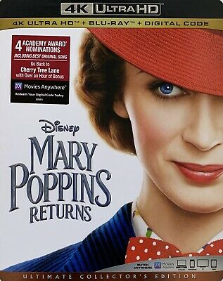 MARY POPPINS RETURNS ~ 4K ULTRA HD + Blu-Ray + Digital *New *Factory Sealed
