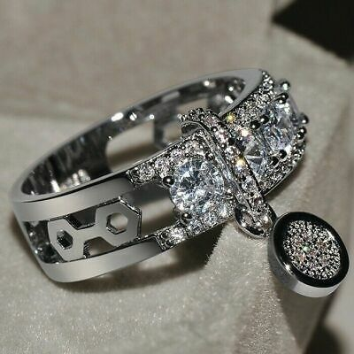 Gorgeous Round White Sapphire Engagement Ring 925 Silver Wedding Jewelry