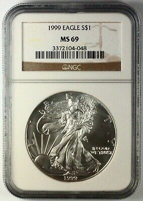 1999 Silver American Eagle MS69 NGC 1 oz CERTIFIED BETTER DATE