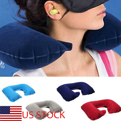 Foldable U-shaped Neck Support Pillow Inflatable Cushion Air Plane Travel Sleep
