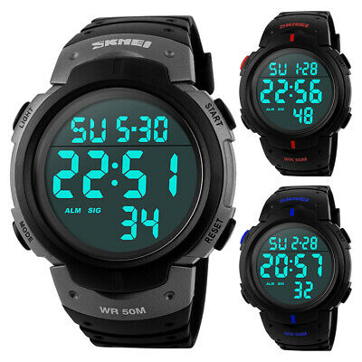 Newest Digital Wrist Watch Shock Waterproof Skmei G LED Quartz Mens Boys